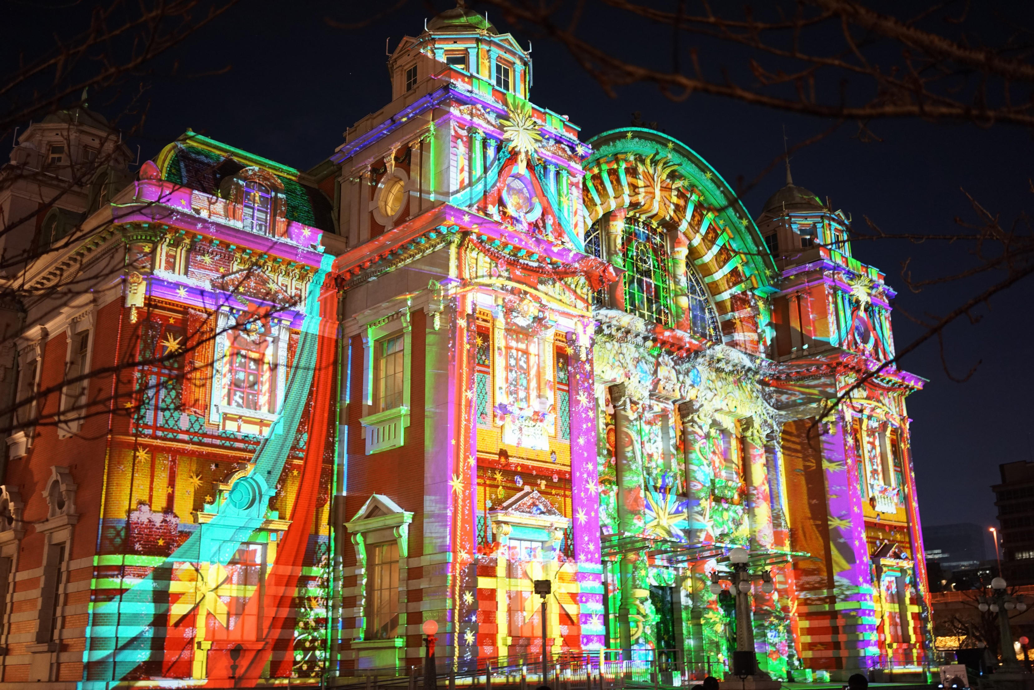 Hikari Renaissance winter illumination or projection mapping Osaka Japan